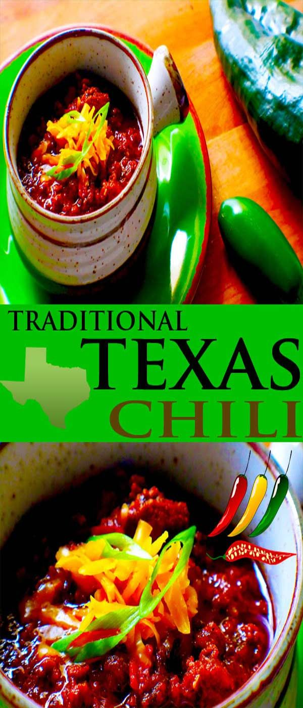 Traditional Texas Chili means two things for sure, no beans and no tomatoes. Traditional Texas chili, this recipe is something any chili lover will dream of when the weather begins to change.  A beautiful base of fresh and dried chilis makes this recipe deep with flavor and just plain good. #chili