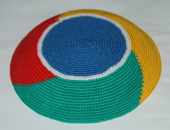 I find this cute....... :-) Google Chrome logo crochet Kippah Yarmulke by ShoshiStudio on Etsy, $40.00
