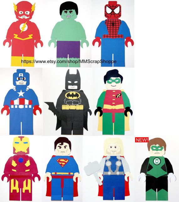 These LEGO Superheroes are perfect for your next party or just to decorate your little superheroes bedroom! They measure from ~ 15 1/2 - 16 inches