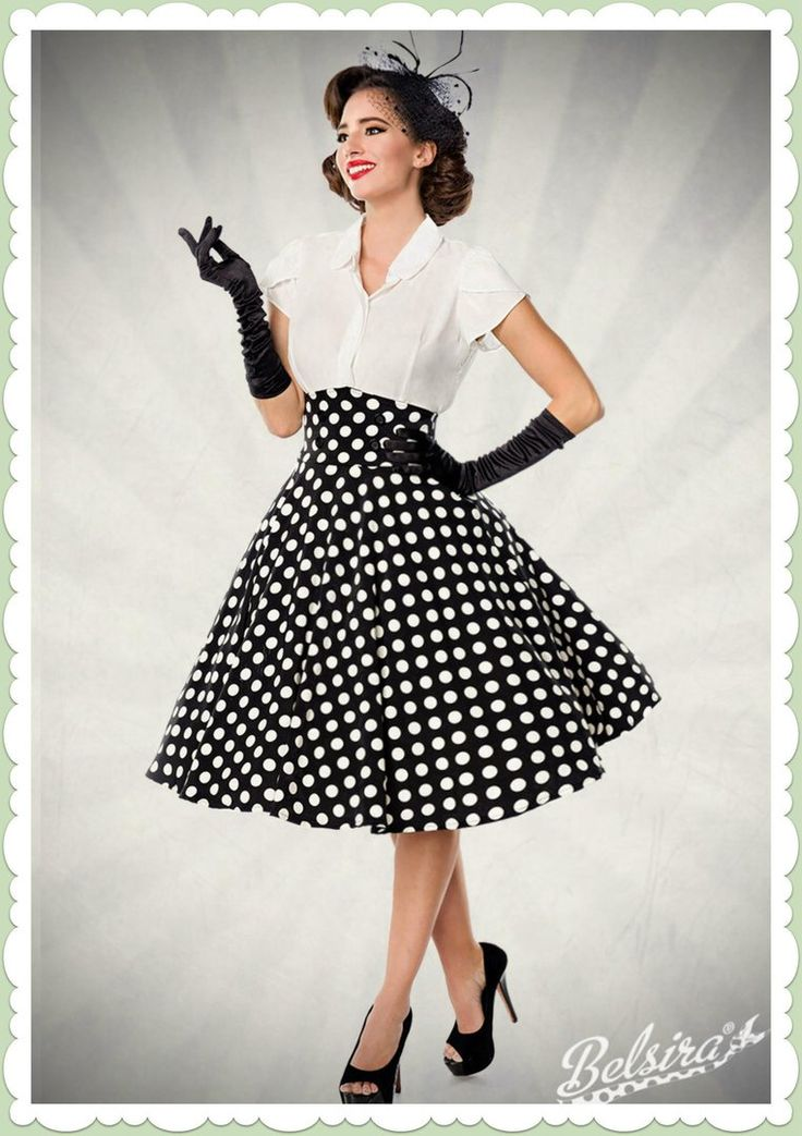 Belsira 50s Rockabilly Dots Skirt – High Waist – Black White