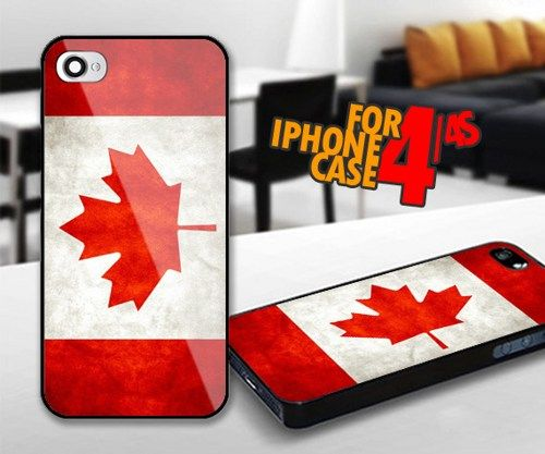 Canada Flag for iPhone 4 / 4s Black case | iPhoneCustomCase - Accessories on ArtFire