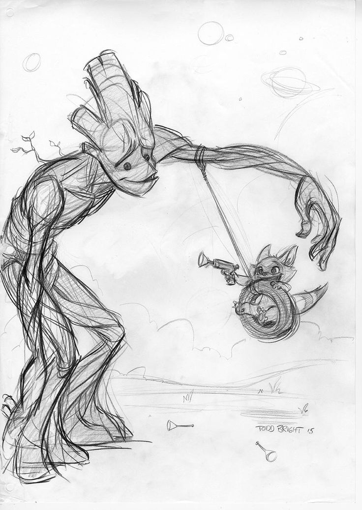 Groot & Rocket sketch by Todd Bright