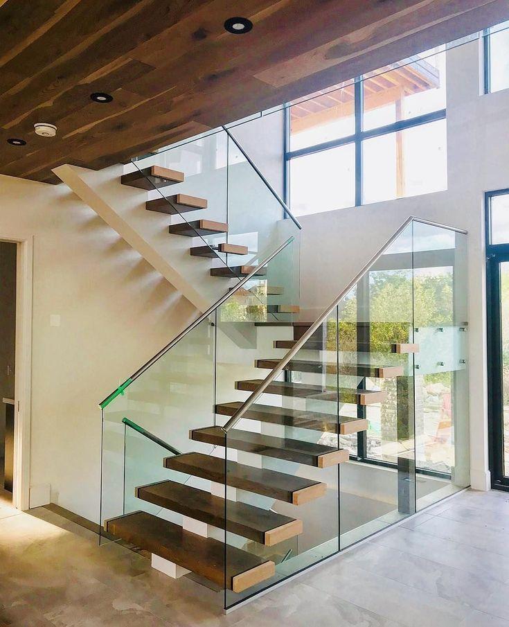 43 idéias de design de escada de vidro elegante   – Home Decor