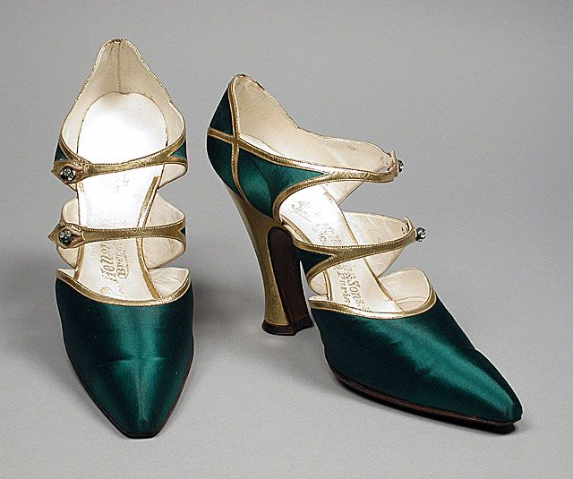 Pair of woman's bar shoes, silk satin and leather. Hellstern and Sons, Paris, France, 1918.