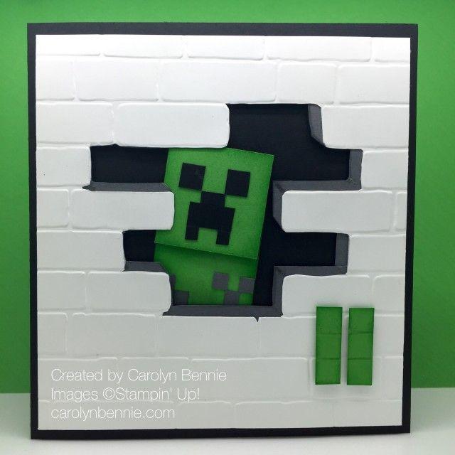 Minecraft Creeper Birthday Card carolynbennie.com Carolyn Bennie Independent Stampin' Up! Demonstrator