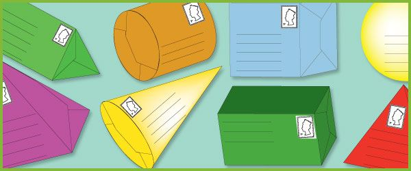 A collection of parcel templates each in a different 3D shape. Great to use in post-office role-play scenarios in your school or early years setting.