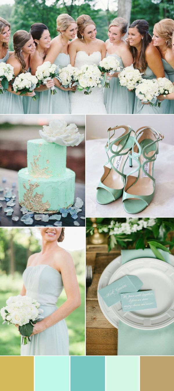 mint and gold wedding color palettes