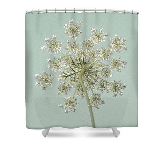 Cortina de ducha del cordón de la Reina Ana baño botánico