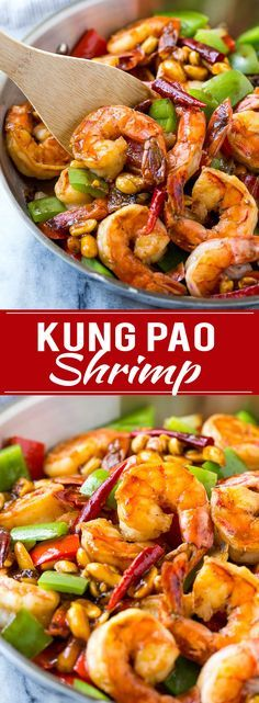 This recipe for Kung Pao shrimp is chock full of veggies and peanuts and is cooked in a savory yet spicy sauce. Make your own take out in just 20 minutes!