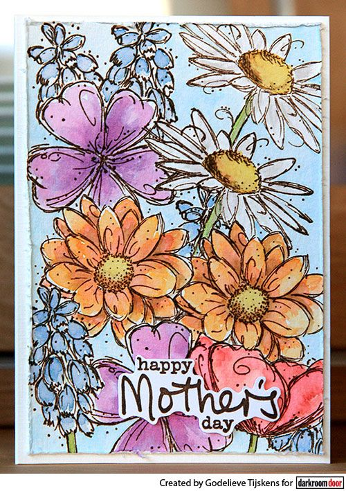 Card by Godelieve Tijskens using Darkroom Door Fine Flowers Vol 2 and Simple Sayings Vol 2 Rubber Stamps