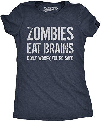 Womens Zombies Eat Brains so You're Safe T Shirt Funny Zombie Tee For Women (Navy) -M *Click image to check it out* (affiliate link)