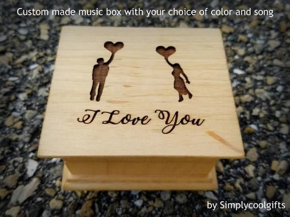 gift for love Personalized musical jewelry box with I love you engraved on top great gift for fifth anniversary handmade by Simplycoolgifts