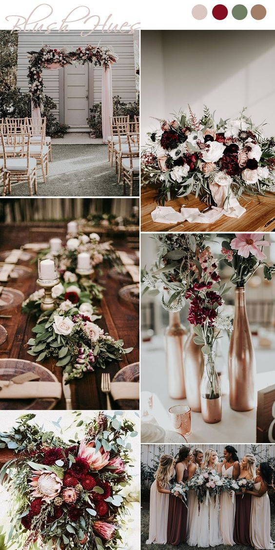 Top 9 Fall Wedding Color Schemes for 2019—burgundy and rose gold, wedding centerpieces, wedding bouquets, wedding decorations