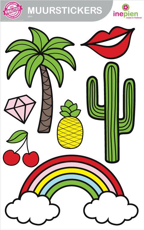 Pimp je muur met deze hippe muurstickers van Inepien. Makkelijk te plakken en verwijderbaar zonder lijmresten. #pins #muurstickers #cactus #regenboog #kers #palmboom #hippemuur