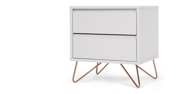 Elona bedside table, grey and copper | made.com