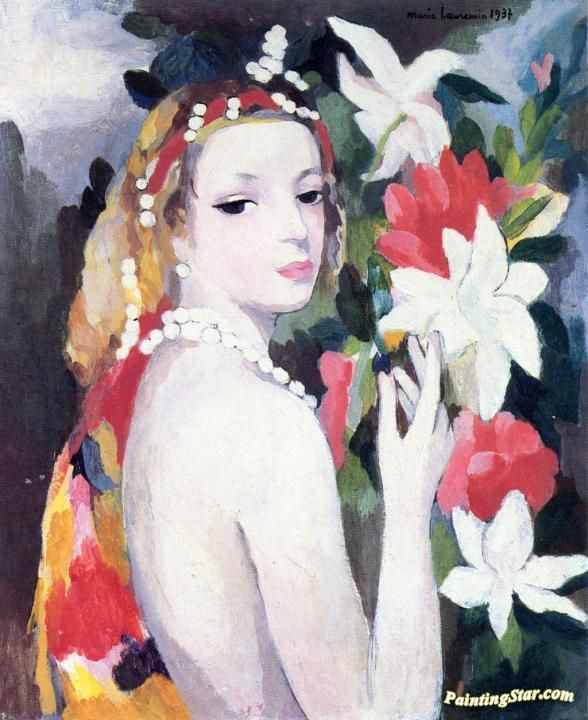 Young Girl With Flowers Artwork by Marie Laurencin Hand-painted and Art Prints on canvas for sale,you can custom the size and frame