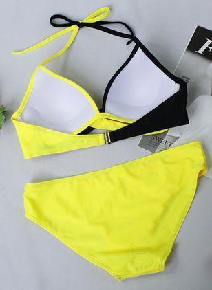 Plus Size Polyester Halter Color Block Bikinis Plus Size Swimwear Swimwear – Yellow / L