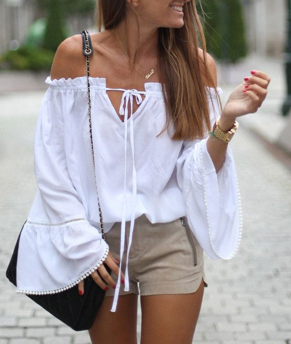White Long Sleeve Style Off The Shoulder Blouses Casual Summer Beach Batwing Sleeve Loose Blouse and Tops