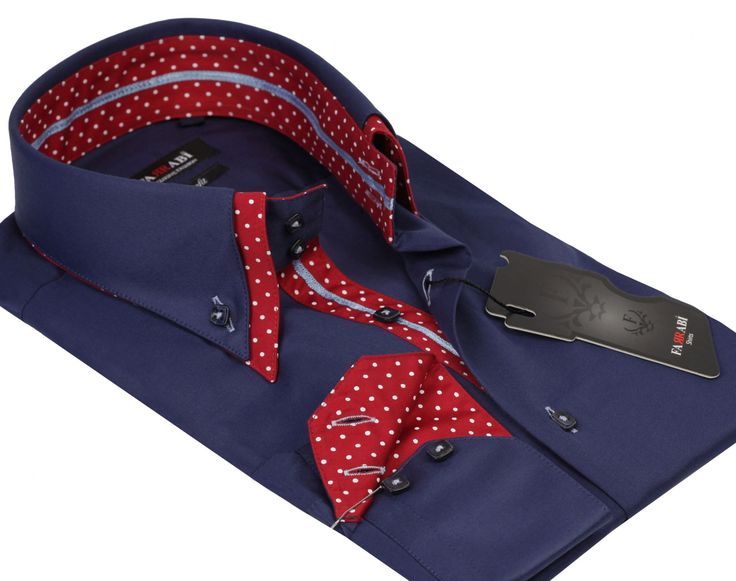 F7 Navy/Red Shirt | Farrabi Slim Fit | Exclusive Luxury Shirts