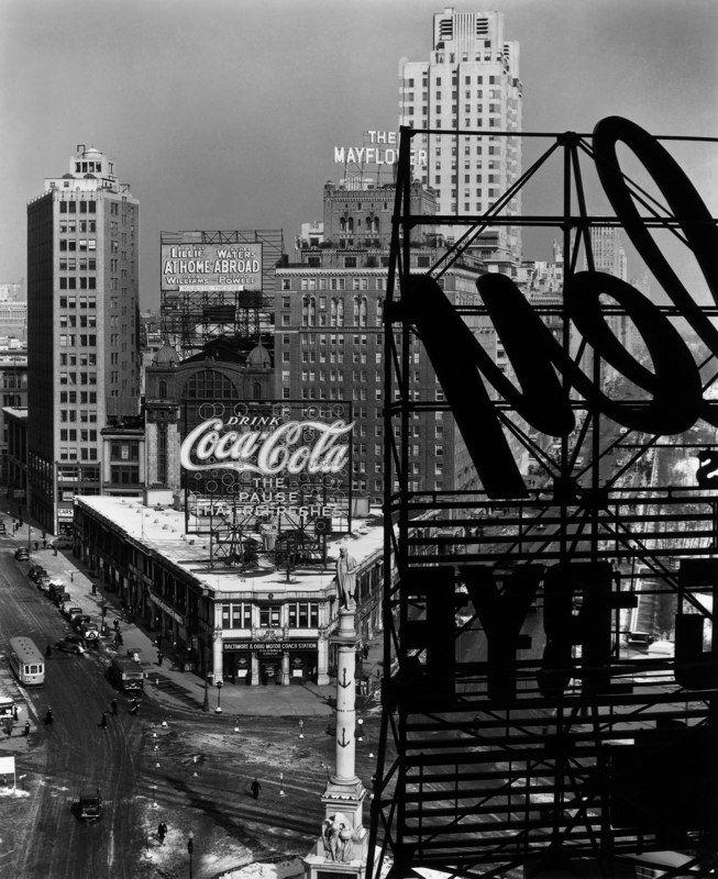 Columbus Circle, New York, 1936. Photo by Berenice Abbott.