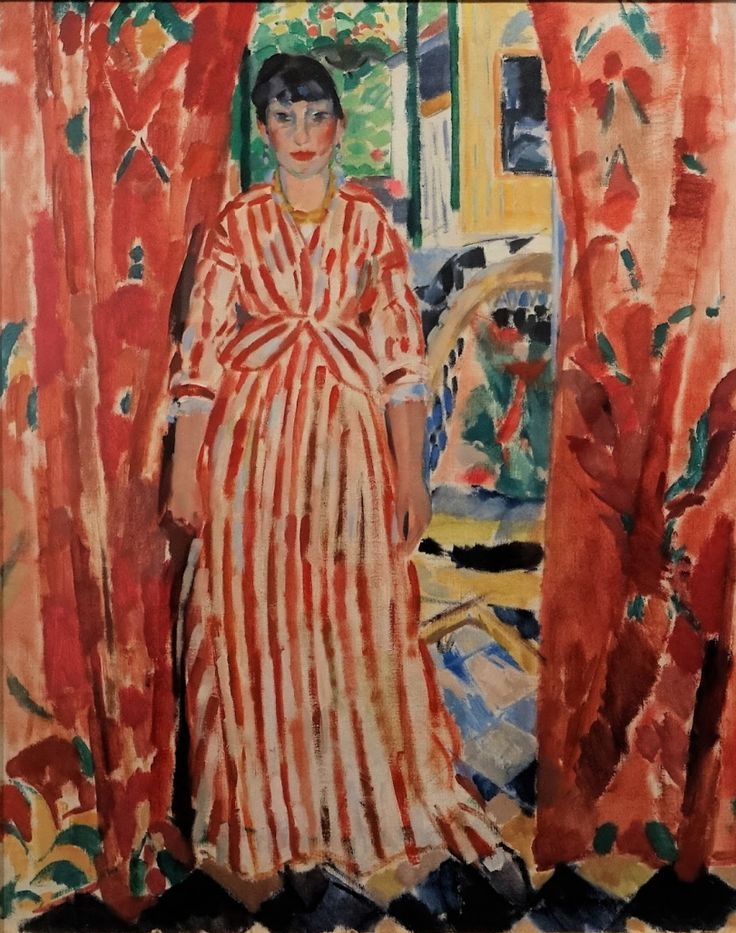 Rik Wouters (1882-1916, Belgian), 1913, De rode gordijnen (The red curtains), Oil on canvas, 100.5 x 80.7 cm.