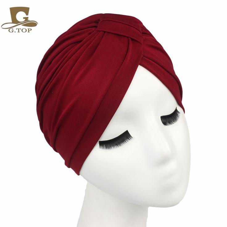 Gratis Pengiriman 2016 Baru Fashion Wanita Katun Indian Merenggang Turban Hat Headband Wrap Topi Kemo Bandana Jilbab Lipit Indian