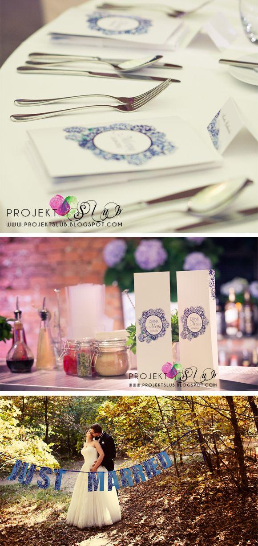 Projekt Ślub - Kolekcja dodatków 'Niebieska Hortensja' - wyjątkowa papeteria ślubna z motywem kwiatowym - zdjęcia dekoracji sali weselnej