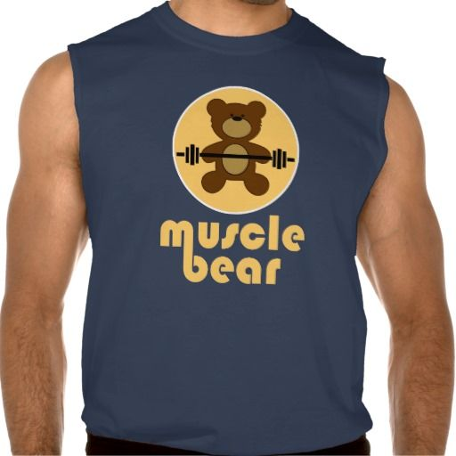 Muscle Bear Teddy Bear Cream Sleeveless Shirt Tank Tops