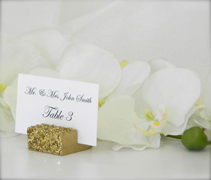 Gold Glitter Place Card Holder