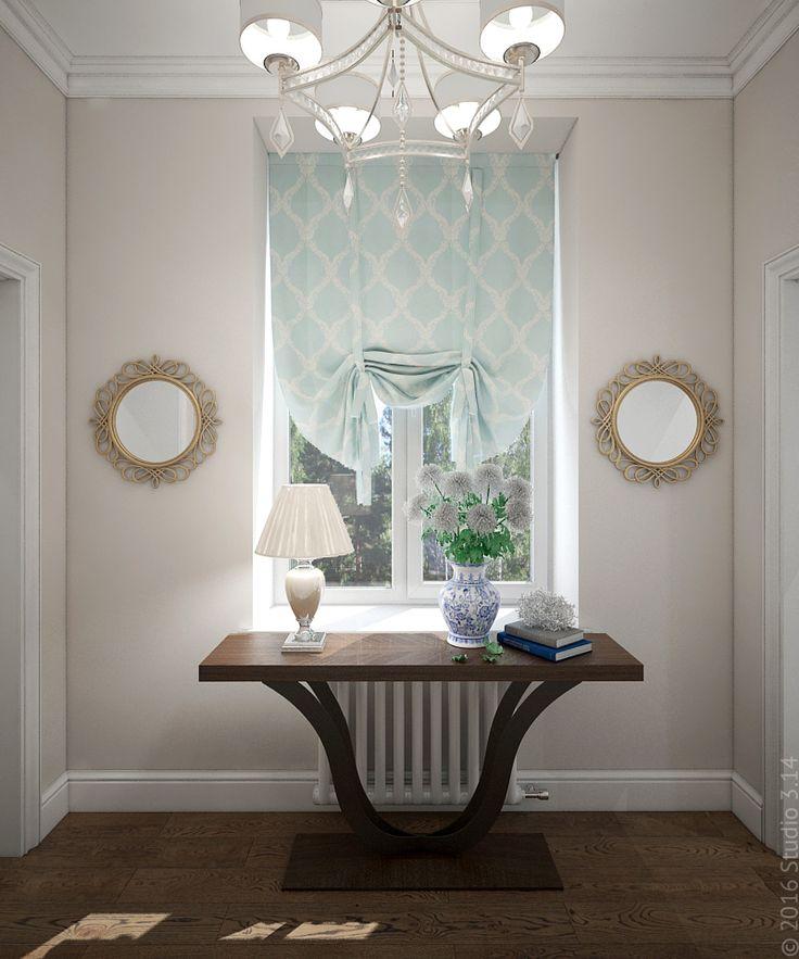 Изящный столик консоль. Симметричные круглые зеркала подчеркивают классический стиль.