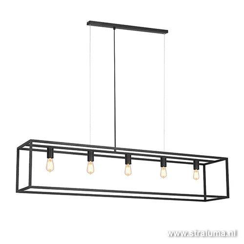 Grote eettafel hanglamp zwart balk frame - www.straluma.nl
