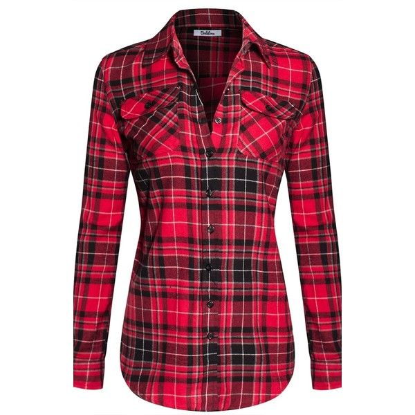 BodiLove Women's Warm Flannel Long Roll Up Sleeve Button Up Plaid... ($13) ❤ liked on Polyvore featuring tops, button up shirts, plaid button up shirts, short-sleeve button-down shirts, red top and plaid flannel shirt