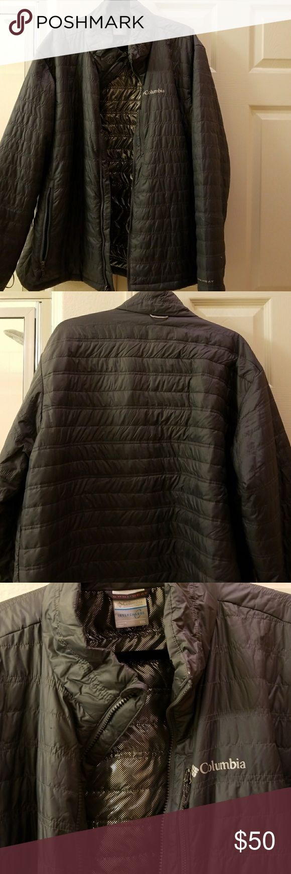 Columbia Men's Jacket Like new, worn once, Men's lightweight puffer jacket in dark gray with Omni-heat silver colored interior. 3 exterior zip pockets. Columbia Jackets & Coats Puffers