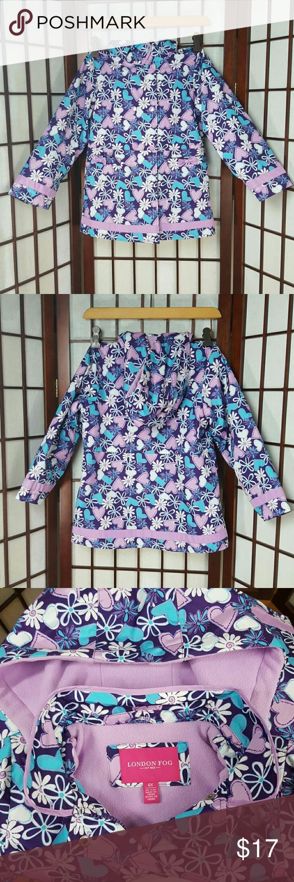 Girls LONDON FOG Floral Jacket Coat Size 6X *Pre-owned  (no stains & tears)  gently worn  *London fog size 6x *Hoddie Jacket and Coat, Floral, buttons and zip up front, long sleeves, 2 pockets  *Multicolor ( purple, blue, white, etc) London Fog Jackets & Coats