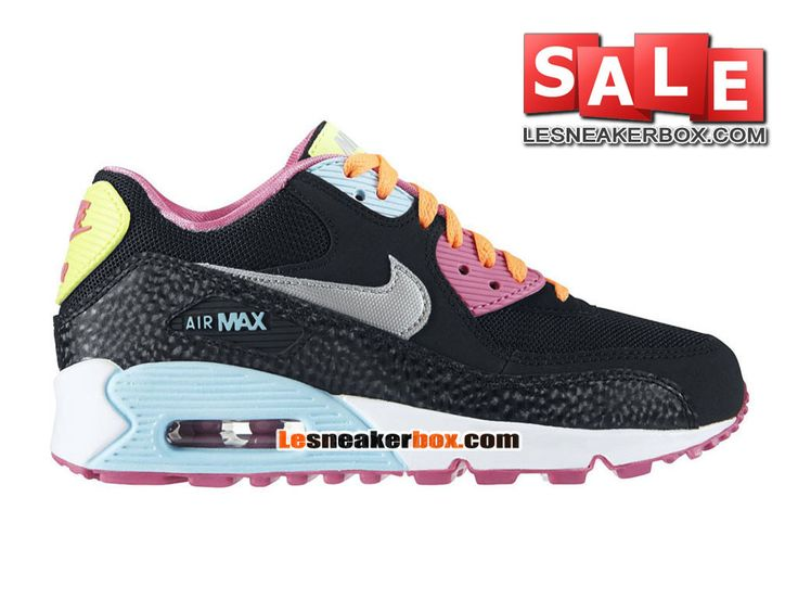 nike air max 90 youth gs chaussures coloris noir rose