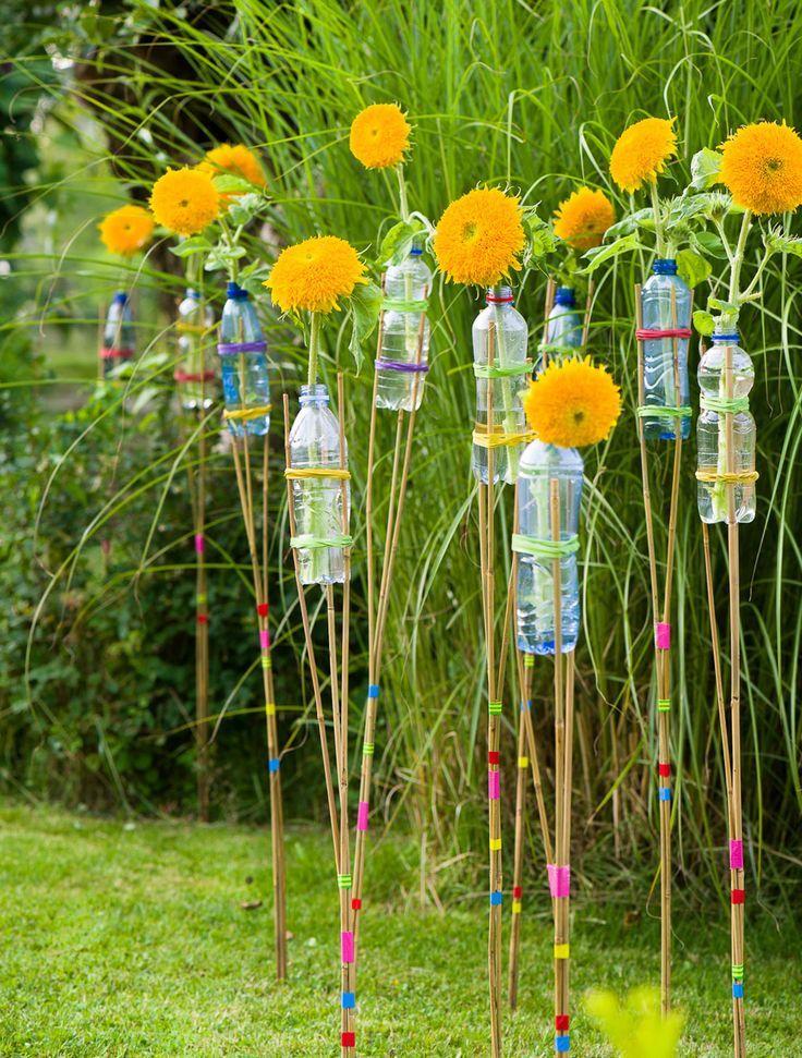 Deko für die Gartenparty: Sonnenblumen-Fackeln ganz fix selbstgemacht