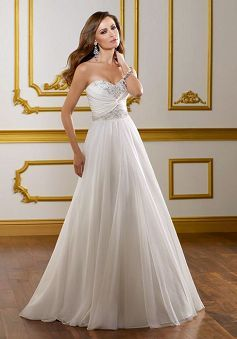 Chiffon A line Sweetheart Sleeveless Natural Waist Wedding Dress