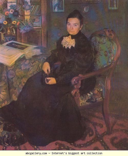 Boris Kustodiyev. Portrait of E.Kustodieva, Artist's Mother. Olga's Gallery.