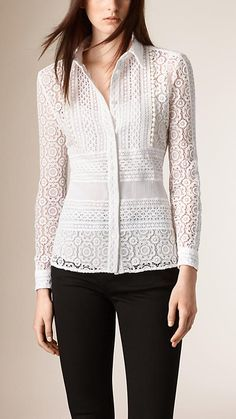 Branco Blusa de renda - Imagem 1