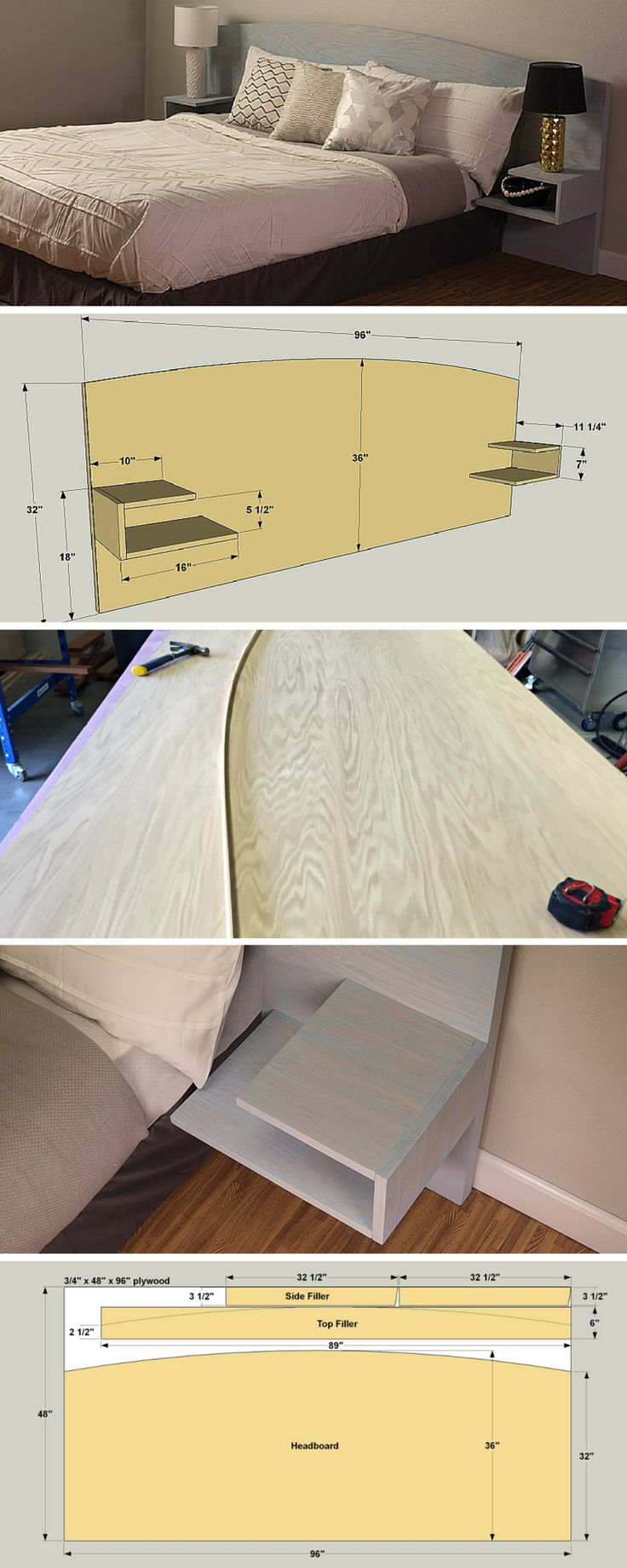 This great-looking headboard features an arched top and floating side tables. By changing the finish, you can customize it to match your style. This one is designed for a Queen mattress. The whole thing is made from one sheet of oak plywood, an oak 1x12 board, and two rolls of iron-on veneer edging. Get the free DIY plans at buildsomething.com