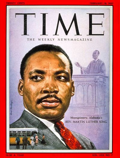 Check out the Time Archives to see how many times Dr. King was featured on the cover. This is his first appearance in 1957.
