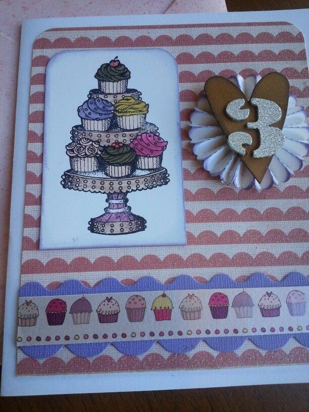 Ella's 3rd birthday card. Cupcakes & chocolate.