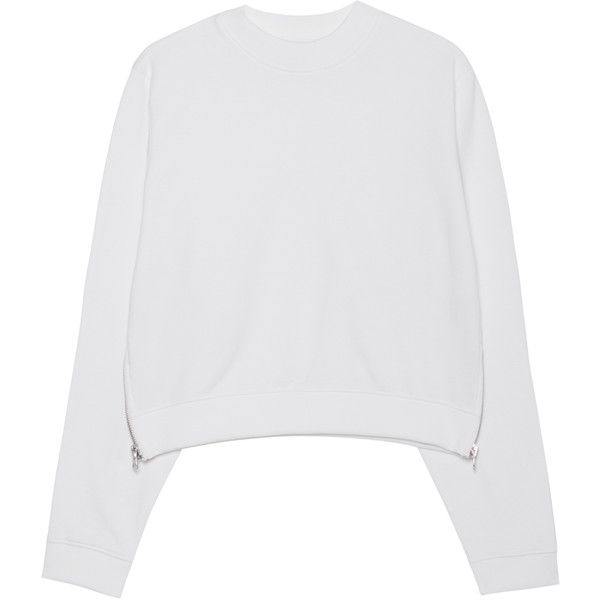 ACNE STUDIOS Bird U Fleece Pearl White // Cropped sweater with zippers found on Polyvore featuring tops, sweaters, over sized sweaters, white cropped sweater, white top, embellished crop top and oversized crop top