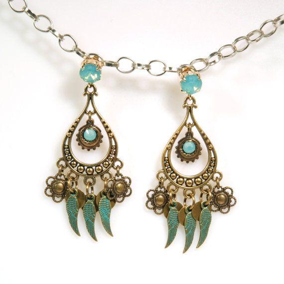 Brass earrings turquoise Swarovski earrings door CatenaSieraden