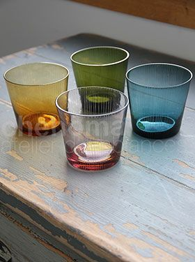 S/4 glasses blue/ green/ parma/amber