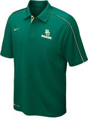 Baylor bears green nike football coaches sideline polo for Soccer coach polo shirt