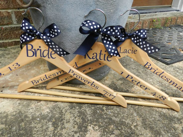 Personalized hangers for bridesmaids, personal verses inscribed.... ways to incorporate bible verses in your Christian Wedding | Rustic Folk Weddings