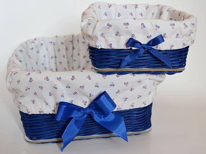 modré košíky s výstelkou