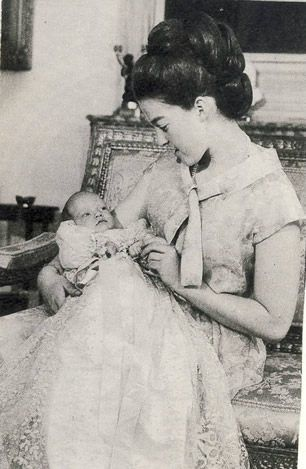 Noblesse et Royautés:  Prince Jean Carl Pierre Marie d'Orléans, Prince of France, b. May 19, 1965; Prince Jean is shown in the arms of his youngest aunt, Princess Chantal