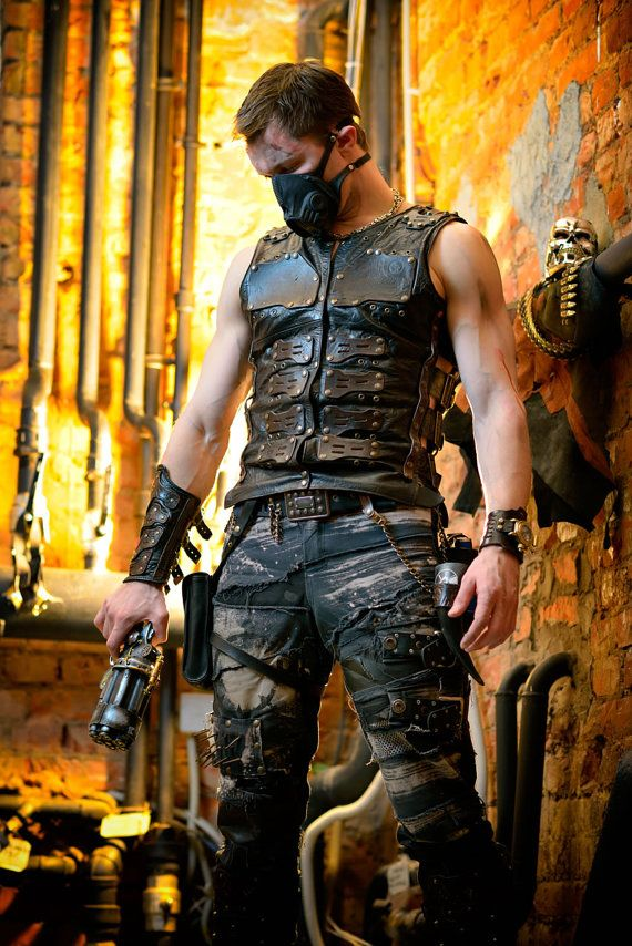 Post apocalyptic men's leather vest 'Apocalypse cinder'